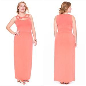 Eloquii Strappy Neckline Maxi Dress Coral